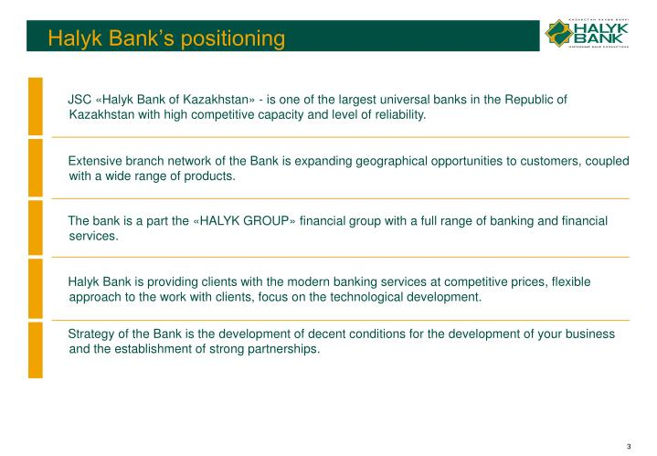 Halyk bank s positioning