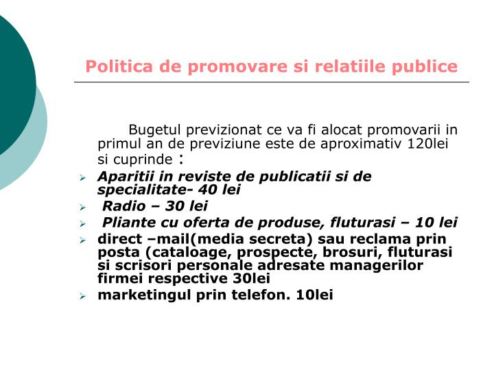 Politica de promovare si relatiile publice