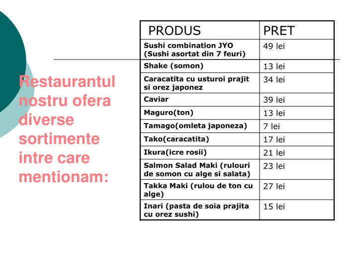 Restaurantul nostru ofera diverse sortimente intre care mentionam: