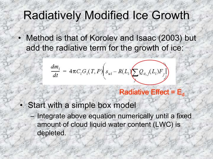 Radiatively Modified Ice Growth