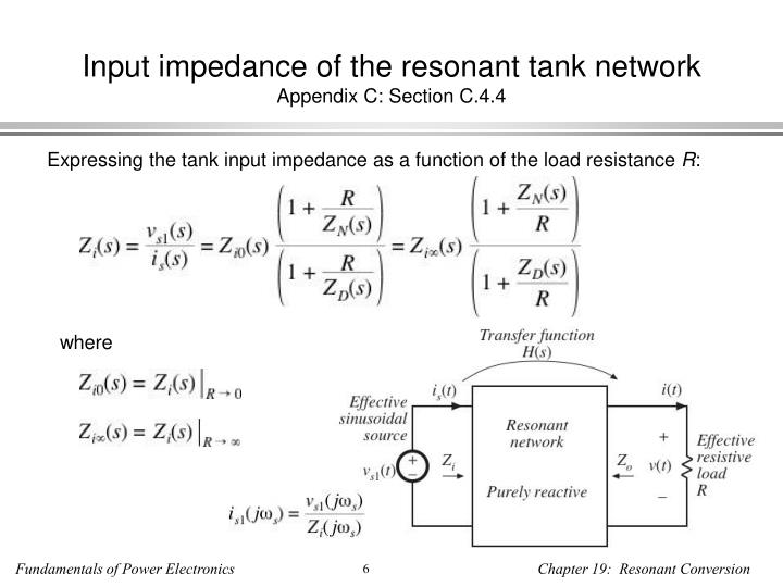 Input impedance of the resonant tank network