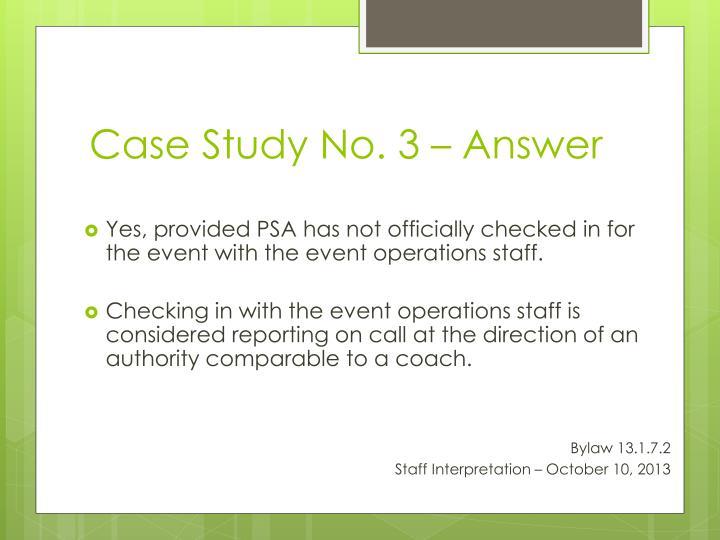 Case Study No. 3 – Answer