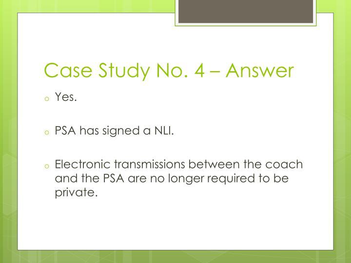 Case Study No. 4 – Answer