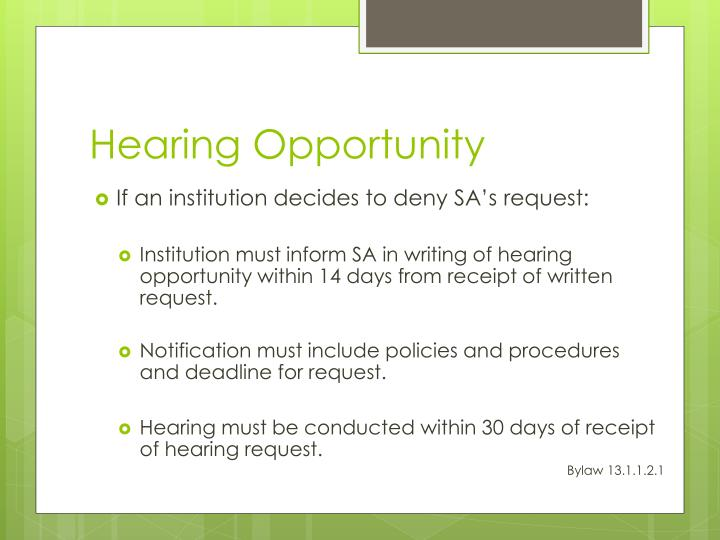 Hearing Opportunity