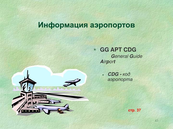 Информация аэропортов