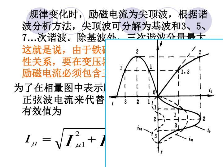 规律变化时,励磁电流为尖顶波,根据谐 波分析方法,尖顶波可分解为基波和3、5、7