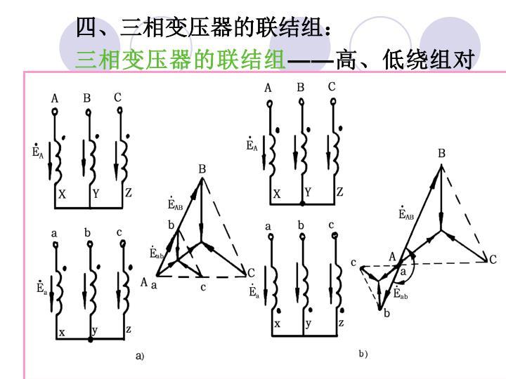 四、三相变压器的联结组: