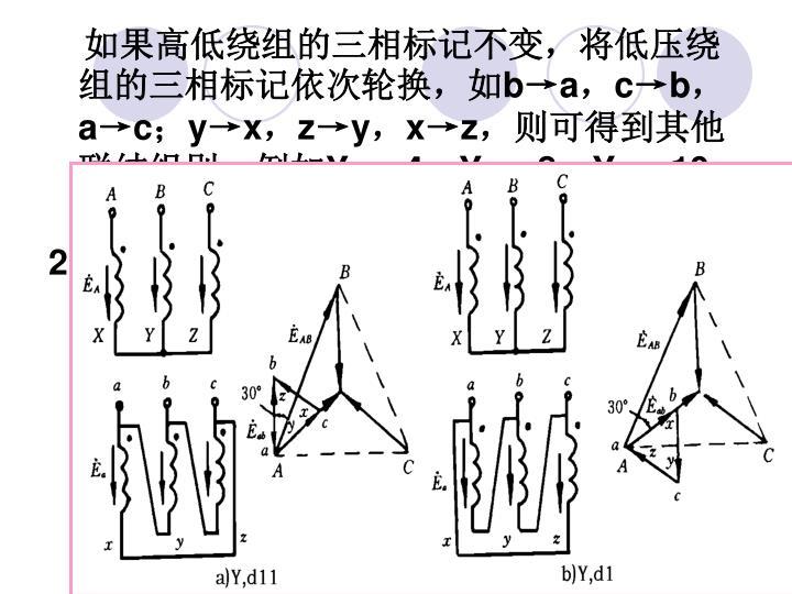 如果高低绕组的三相标记不变,将低压绕组的三相标记依次轮换,如
