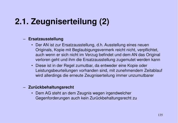 2.1. Zeugniserteilung (2)