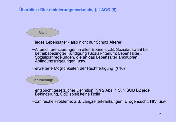 Überblick: Diskriminierungsmerkmale, § 1 AGG (5)