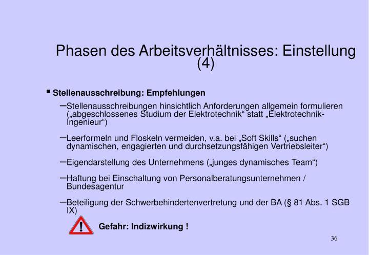 Phasen des Arbeitsverhältnisses: Einstellung (4)