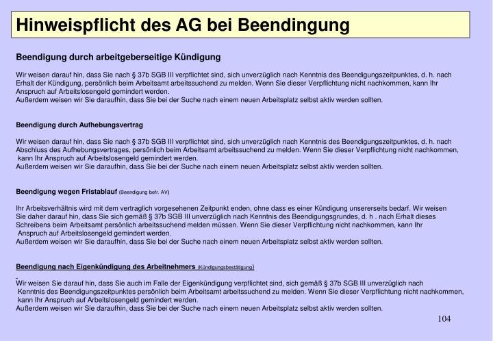 Hinweispflicht des AG bei Beendingung