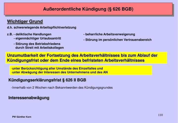 Außerordentliche Kündigung (§ 626 BGB)
