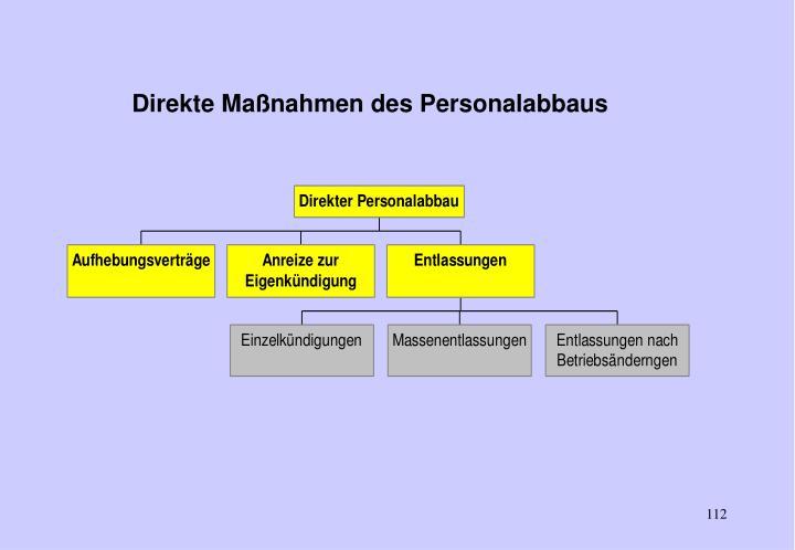 Direkte Maßnahmen des Personalabbaus