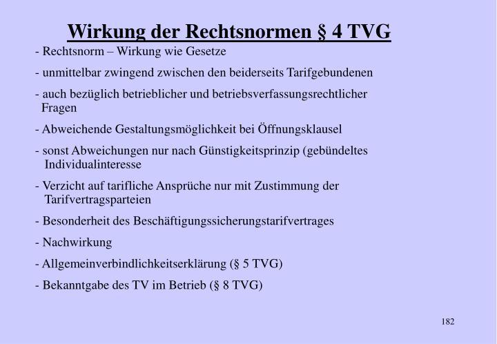Wirkung der Rechtsnormen § 4 TVG
