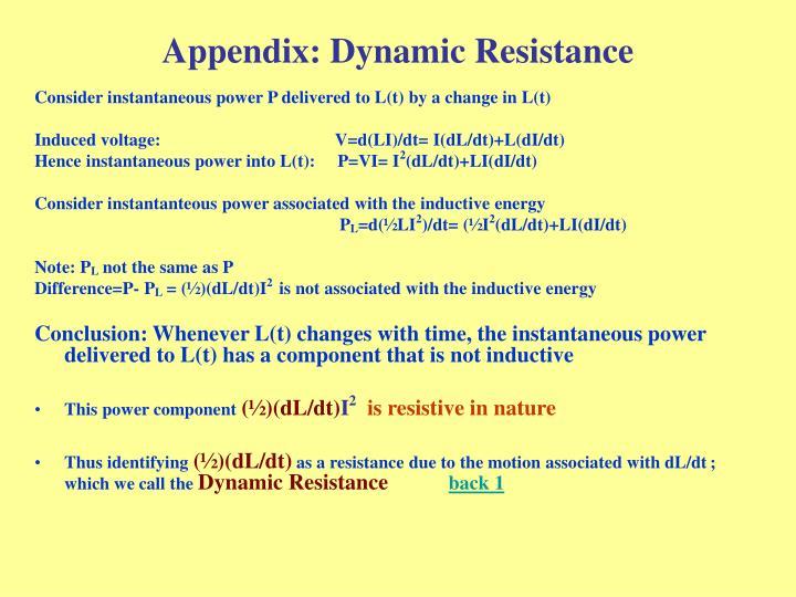 Appendix: Dynamic Resistance