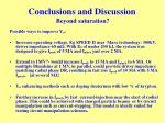 conclusions and discussion beyond saturation