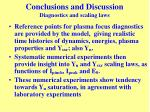 conclusions and discussion diagnostics and scaling laws