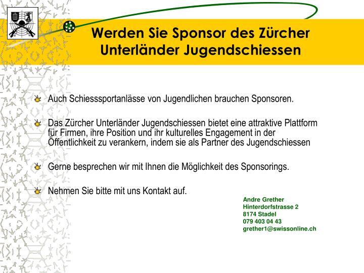 Werden Sie Sponsor des Zürcher Unterländer Jugendschiessen