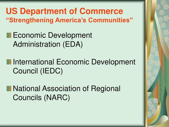Us department of commerce strengthening america s communities