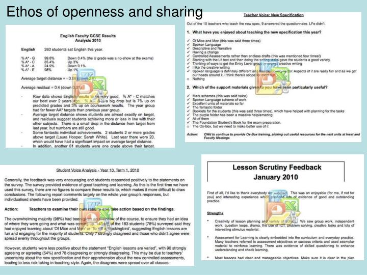 Ethos of openness and sharing
