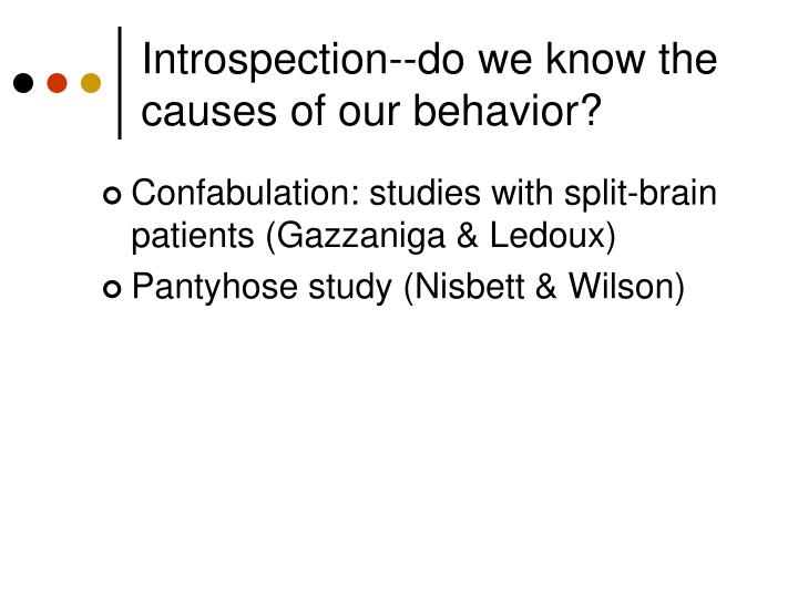 Introspection--do we know the causes of our behavior?