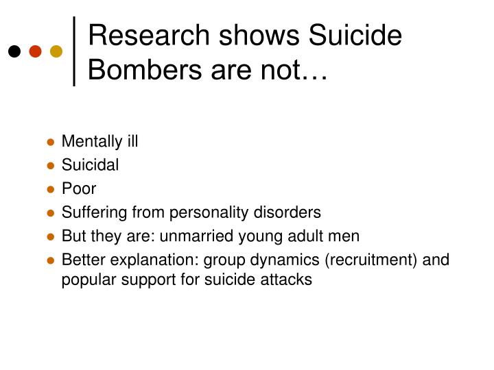 Research shows Suicide Bombers are not…