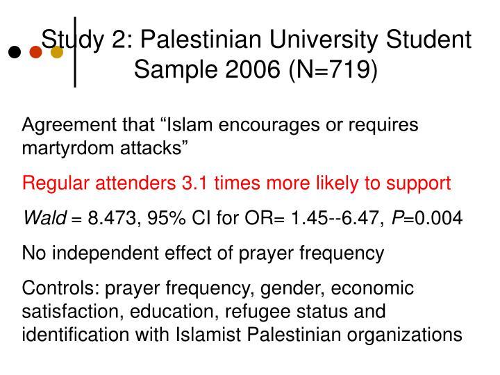 Study 2: Palestinian University Student Sample 2006 (N=719)