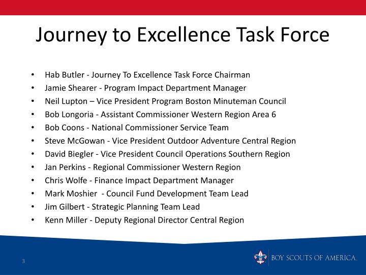 Journey to excellence task force