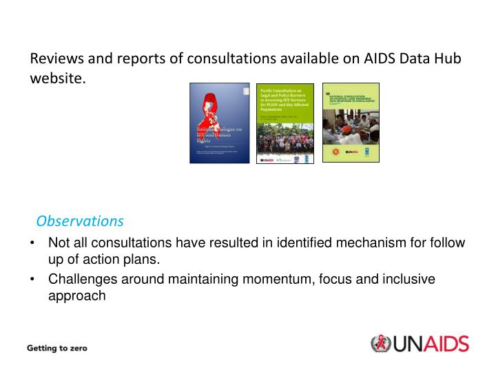 Reviews and reports of consultations available on AIDS Data Hub website.