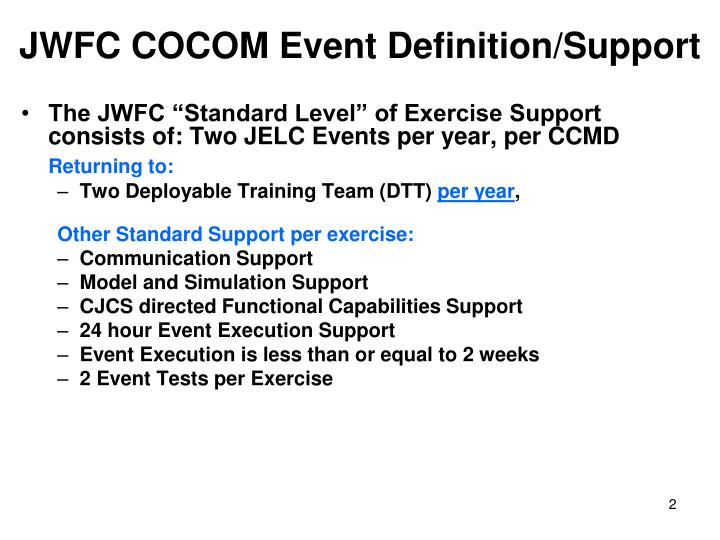 JWFC COCOM Event Definition/Support