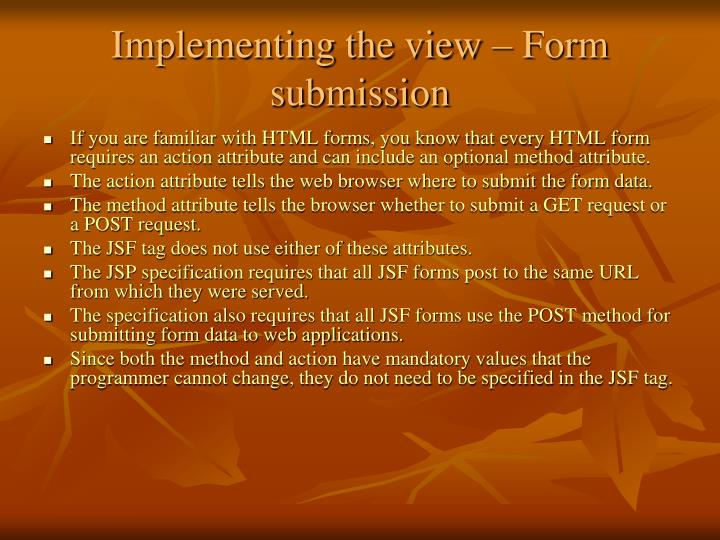 Implementing the view – Form submission