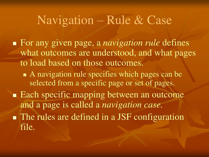 Navigation – Rule & Case