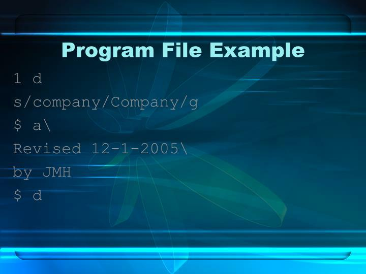 Program File Example
