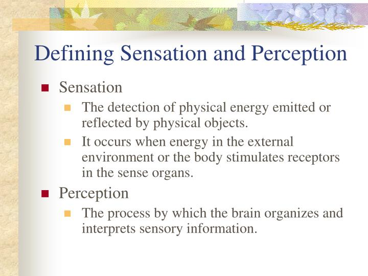 Defining Sensation and Perception
