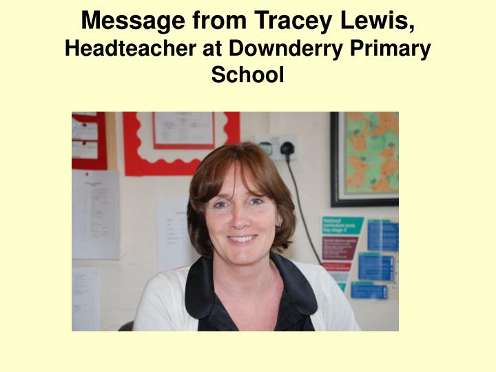 Message from Tracey Lewis,