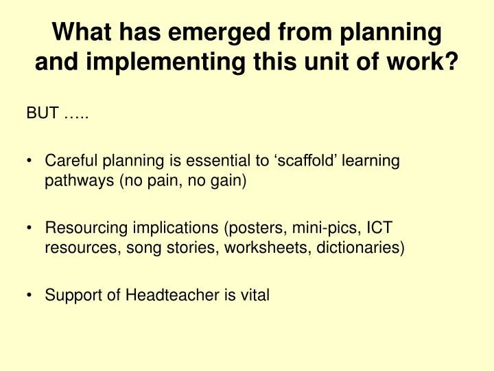 What has emerged from planning and implementing this unit of work?