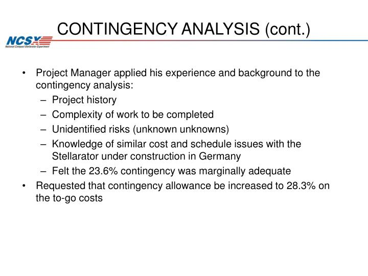 CONTINGENCY ANALYSIS (cont.)