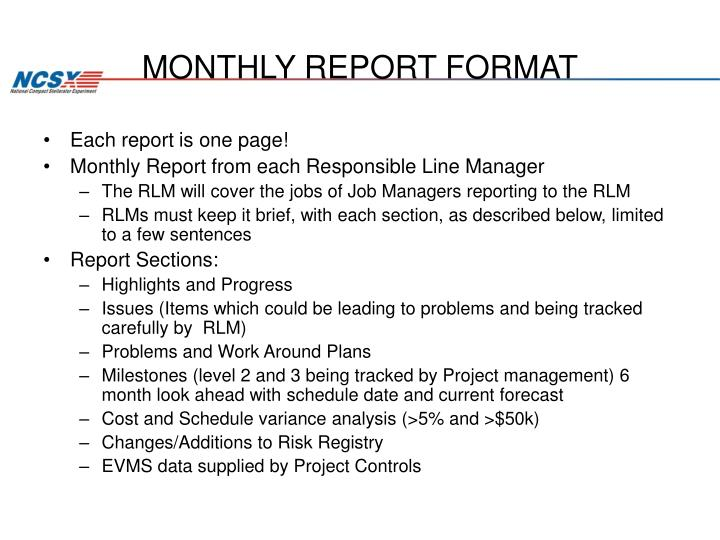 MONTHLY REPORT FORMAT