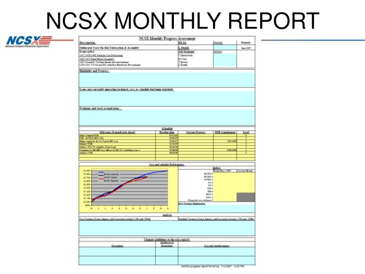 NCSX MONTHLY REPORT FORMAT