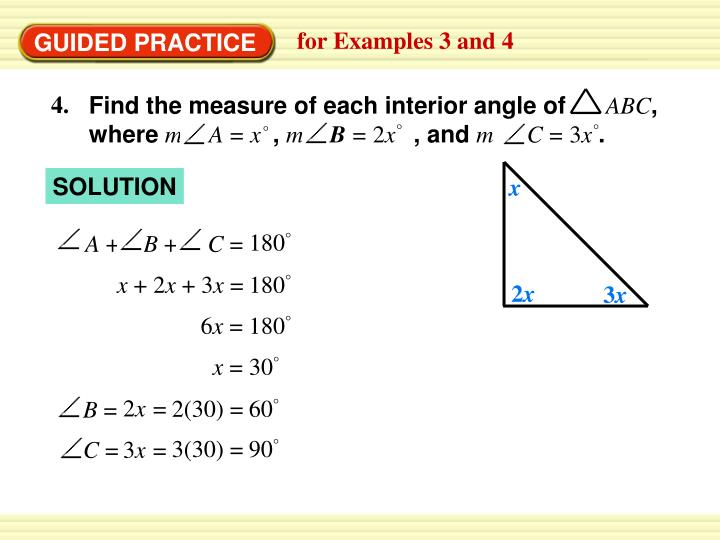 Find the measure of each interior angle of