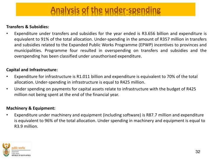 Analysis of the under-spending