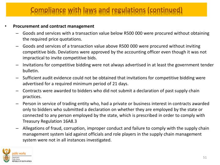 Compliance with laws and regulations (continued)