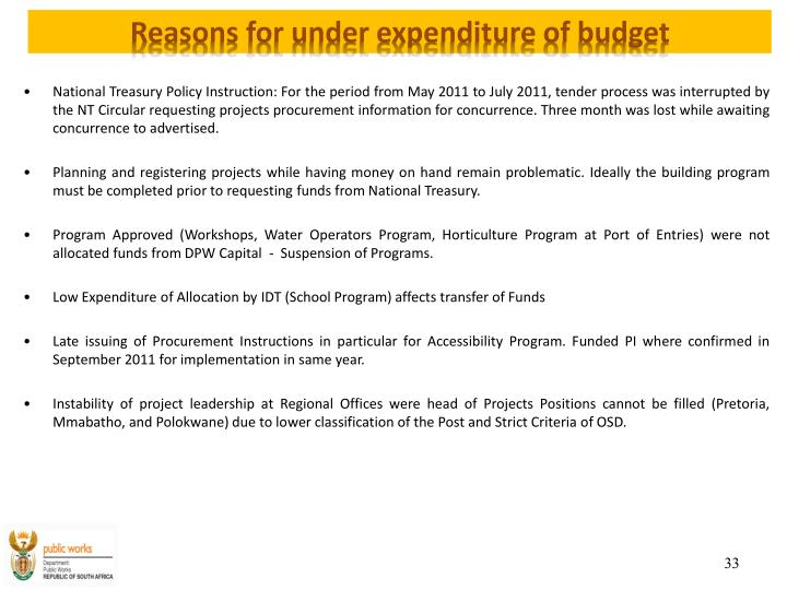 Reasons for under expenditure of budget