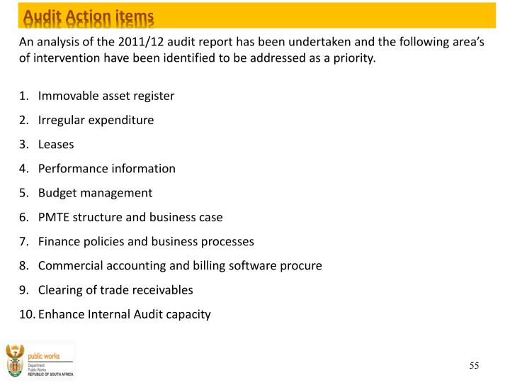 Audit Action items