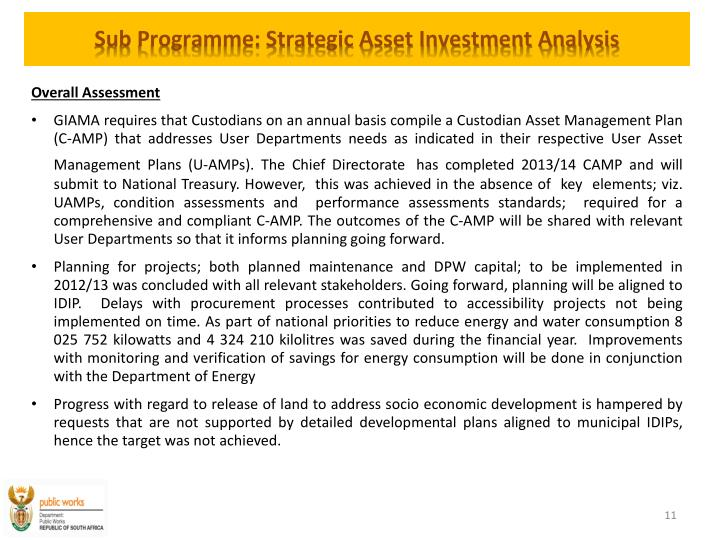 Sub Programme: Strategic Asset Investment Analysis