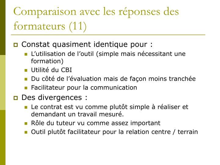 Comparaison avec les réponses des formateurs (11)