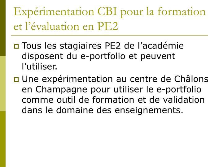 Expérimentation CBI pour la formation et l'évaluation en PE2