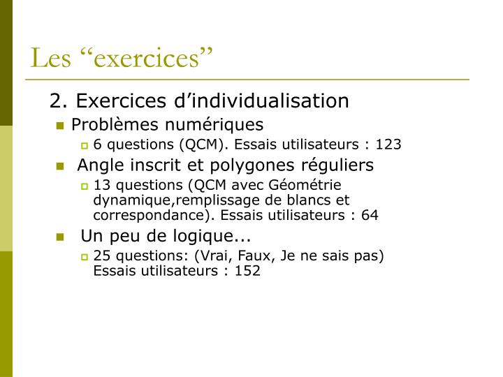 """Les """"exercices"""""""