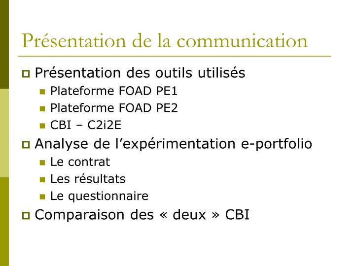 Pr sentation de la communication